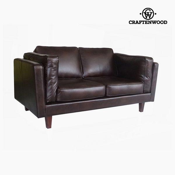 Image of   2 personers sofa Fyr Polyskin Brun (165 x 92 x 80 cm) by Craftenwood