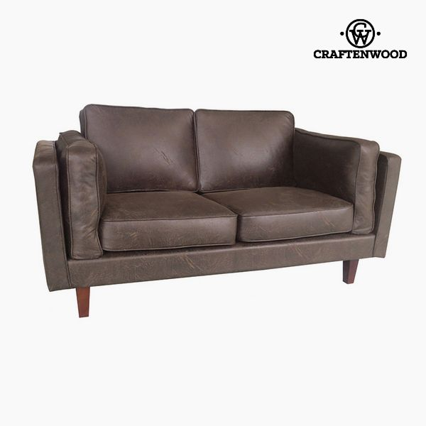 Image of   2 personers sofa Fyr Polyskin Brun (165 x 92 x 80 cm) by Craftenwood