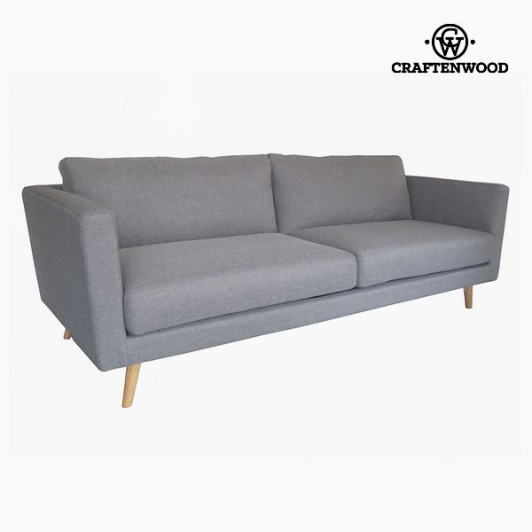 Image of   3 personers sofa Fyr Fløjl Grå (211 x 88 x 83 cm) by Craftenwood