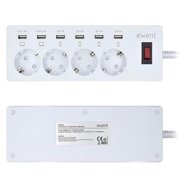 Image of   4-stiks bundkort med tænd/sluk-knap Ewent EW3937 3680W USB Hvid