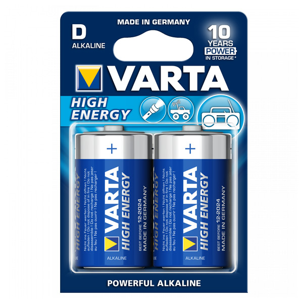 Image of   Alkaline Batteri Varta LR20 D 1,5 V 16500 mAh High Energy (2 pcs) Blå
