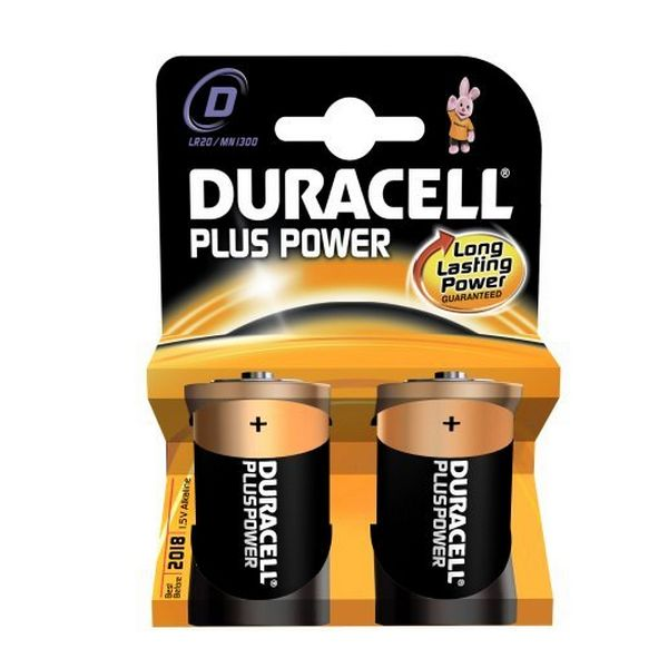 Image of   Alkalinebatterier DURACELL Plus Power DURLR20PB2 LR20 D 1.5V (2 pcs)