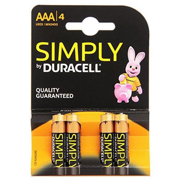 Image of   Alkalinebatterier DURACELL Simply DURSIMLR3P4B LR03 AAA 1.5V (4 pcs)