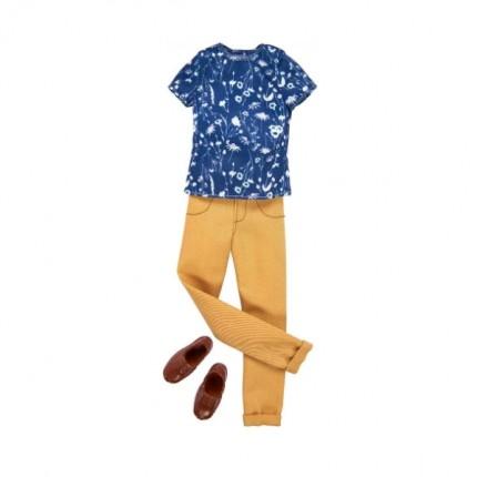 Image of   Barbie Ken Tøj Blå Bluse og lys kaki bukser