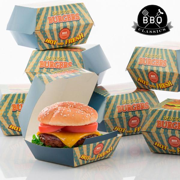 Image of   BBQ Classics Sæt med Æsker til Hamburgere (Pakke med 8)