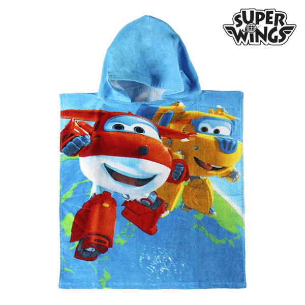 Image of   Blue Super Wings Poncho Hættehåndklæde