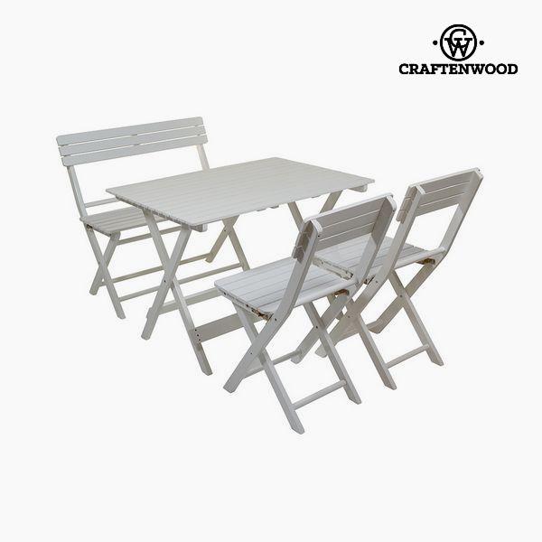 Image of   Bordsæt, skrivebord og 2 stole Poppeltræ (4 pcs) by Craftenwood