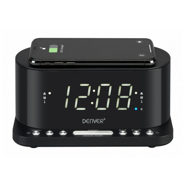 "Image of   Clockradio med trådløs oplader Denver Electronics CRQ-110 12"" LED USB Sort"