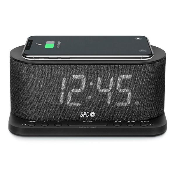 """Image of   Clockradio med trådløs oplader SPC 4582N 4,3"""" LED USB Sort"""