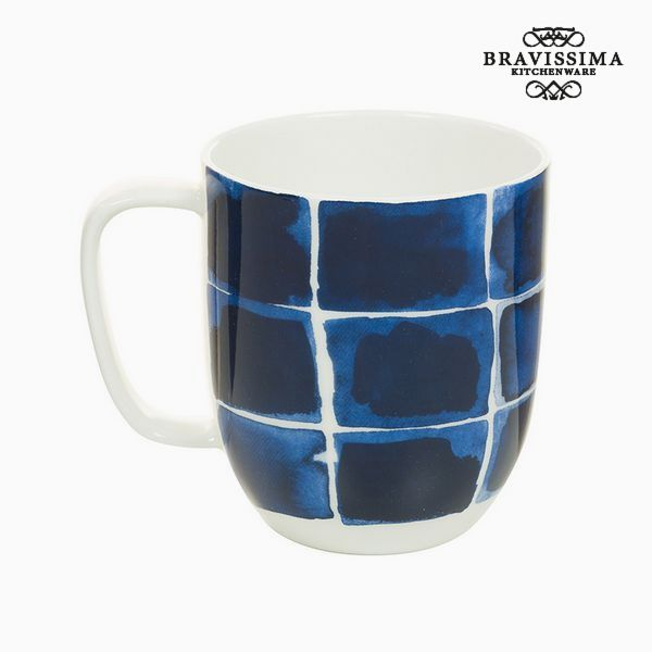 Image of   Cup Porcelæn Kvadratov Modre barve - Kitchens Deco Samling by Bravissima Kitchen