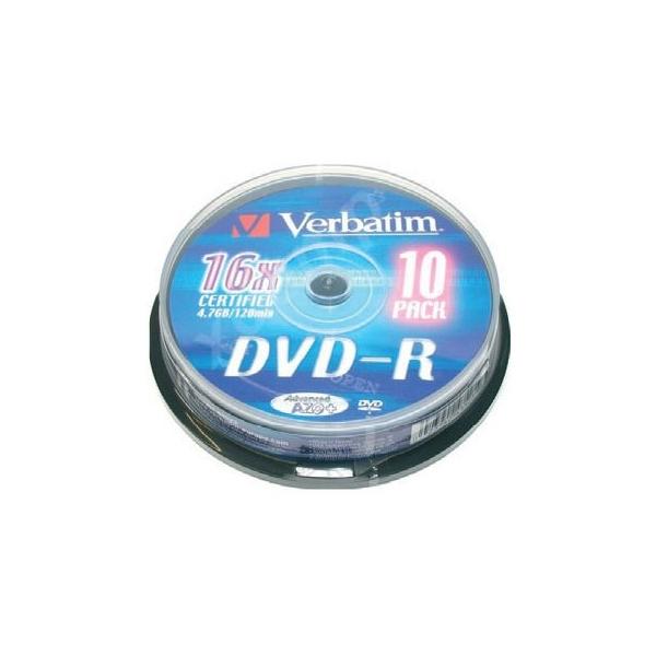 Image of   DVD-R Verbatim 43523 16x 10 pcs