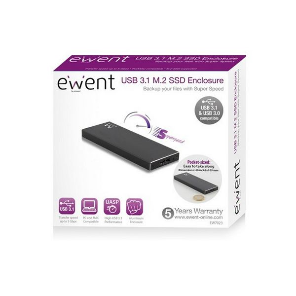 Image of   Ekstern Boks Ewent EW7023 SSD M2 USB 3.1 Aluminium