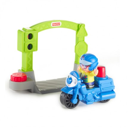 Image of   Fisher Price Little People Politi motorcykel