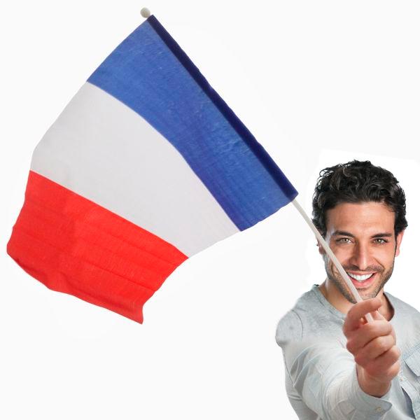 Image of   Fransk Flag med Stang (46 x 30 cm)