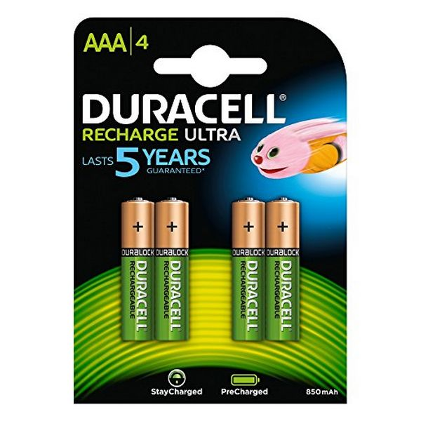 Image of   Genopladelige batterier DURACELL DURDLLR03P4B HR03 AAA 800 mAh (4 pcs)
