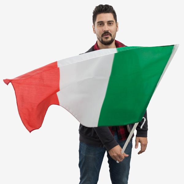 Image of   Italiensk Flag med Stang (90 x 60 cm)