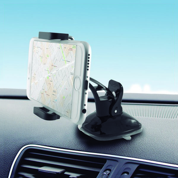 Image of   Mobilholder til bil med sugekop 360º Sort