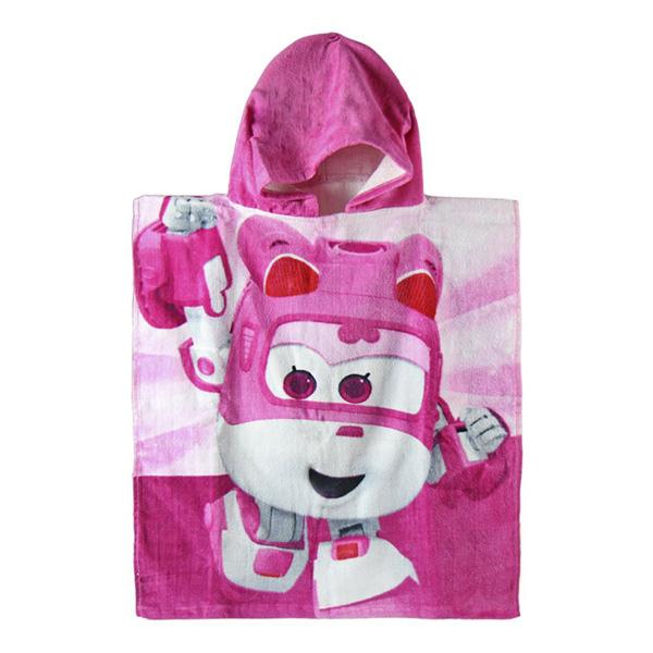 Image of   Pink Super Wings Poncho Hættehåndklæde