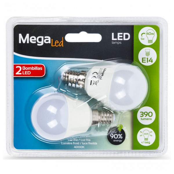 Image of   Sfærisk LED pære MegaLed P45-5 5W E14 4000K 390 lm Hvidt lys (2 Pcs)