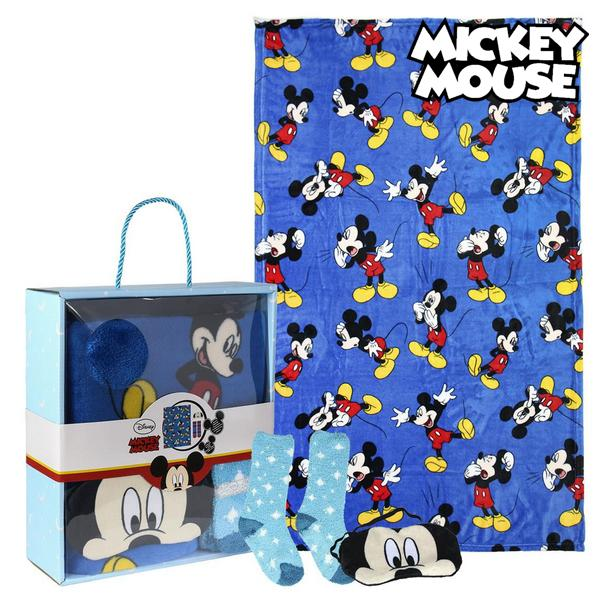 Image of   Tæppe, Sokker og Øjenmaske Mickey Mouse 73376 (3 Pcs) Blå